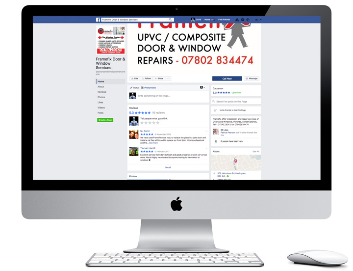 Screenshot of Framefix's Facebook page